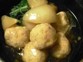 かぶと鶏ひき肉団子の治部煮風